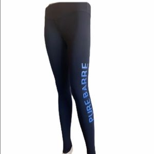 Pure Barre | Black Leggings With Blue Leg Logo